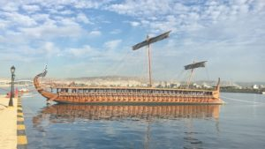 The fully reconstructed Athenian trireme Olympias.