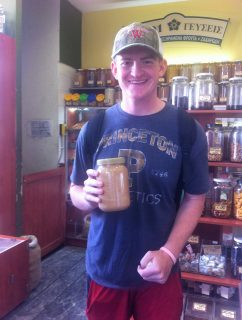 P stands for peanut butter (Gage Ulery with his fresh Greek peanut butter straight from a huge steel vat)
