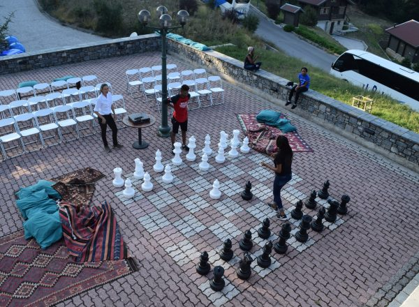 a battle of minds on the giant chess board
