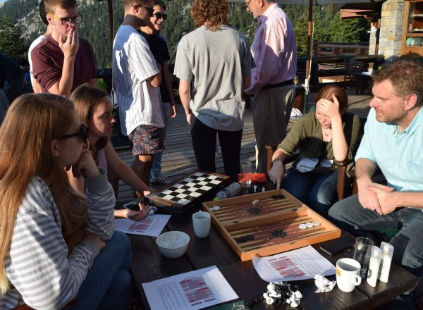 Programs Assistant Vassilis Karavasilis taught students how to play 'Tavli' – Greek backgammon