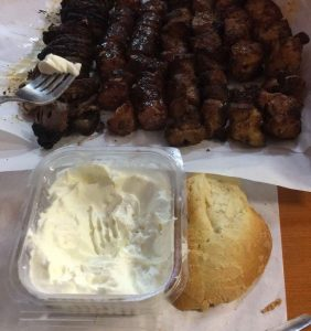 Many of us enjoyed delicious galotyri cheese, bread, wine, and an assortment of grilled meats including mutton, pork, chicken, sausage and kokoretsi (liver wrapped in lamb intestines) at The 5 Phi (φφφφφ) restaurant.