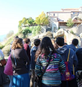 We climbed the mountain-side steps to the Grand Meteora Monaster and got to view the old kitchen, the storage rooms and the ossuary.