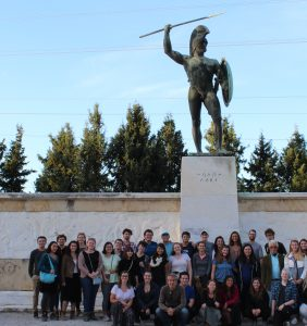 Professor Karavas lectured on the historical truths of the battle of Thermopylae, and we took one last group photo in front of the statue of King Leonidas.