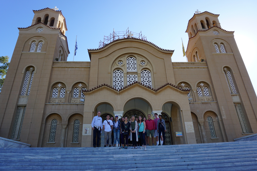 Group photo on the steps of Agia Fotini Church