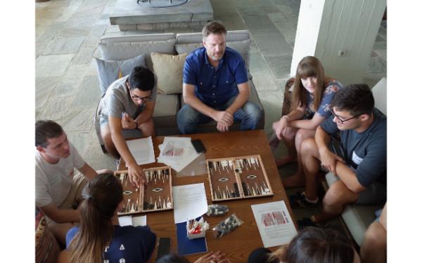 Bonding Activities: playing τάβλι (tavli=Greek backgammon )