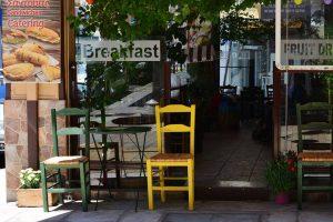 Outdoor seating at Kekkos cafe.