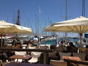 Outdoor seating at Skippers overlooking the marina