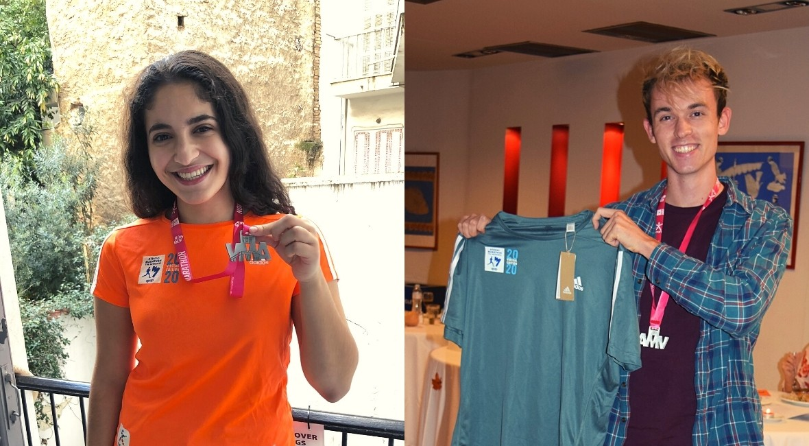 Jennifer and Benji wearing their medals and official Marathon participation T-shirts